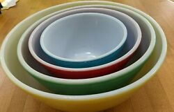 Vintage Pyrex Primary Colors Nesting Mixing Bowls Set Of 4 - 401, 402, 403, 404