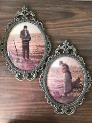 Homco Home Interior Old Man And Woman Praying Farmers Oval Bubble Glass Pictures