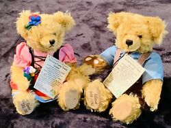 Pair Hermann Hansel Gretel Collectible Jointed Mohair Teddy Bears Grimms Tales