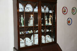 Victorian Antique Mahogany Marriage 2-piece Display Cabinet And Writing Desk