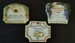 Set Of 3 French Wineries 3d Resin Wall Decor Plaques 6 X 4.5