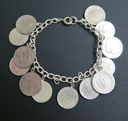 Vintage Silver Coin Charm Bracelet Various European And South American Coins