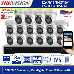 Hikvision 16ch 4k Darkfighter Poe Ip Camera Hdd Cctv Security System Home Office