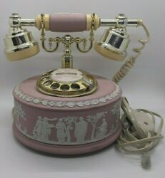 Wedgwood Jasper-ware Astral Telephone Vintage Pink White Gold Working Tested