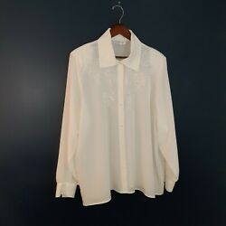 Vintage Kathy Che 22w Embroidered Blouse, Classic, Career, Church,brunch,versati