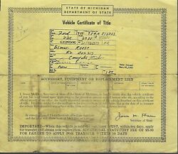 1949 Ford 2 Door Car Title Michigan Historical Document
