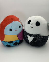 """Squishmallow Nbc 12""""-14"""" Jack And Sally Nightmare Before Christmas Fast Ship Nwt"""