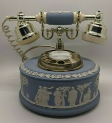 Wedgwood Jasper-ware Astral Telephone Vintage Blue White Gold Working Tested