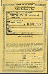 1962 Ford Falcon 4 Door Station Wagon Car Title Michigan Document