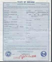 1973 Ford Pinto 2 Door Station Wagon Car Title Signed Indiana Document
