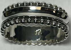 Vintage Taxco Mexico 925 Sterling Silver Fhv Polished Beaded Hinge Cuff Bracelet