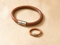 Hermes Iota Leather Breath Ring Free Shipping No.4128