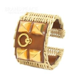 Hermes Coryedsian Picnic Bangle Faub Gold Fittings T2 Size Z-engraved No.4718