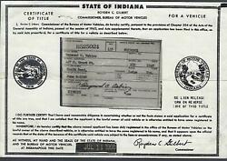 1948 Dodge Truck 1 1/2 Ton Model B1h Title Indiana Signed Historical Document