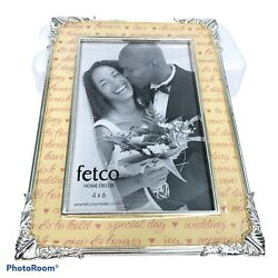 fetco Home Decor 4quot;x6quot; Silver Toned Wedding Love Ornate Picture Frame