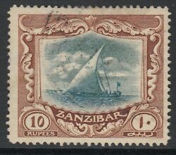 Sg 260 Zanzibar 1913 10r Green And Brown Very Fine Used Cat Andpound425