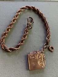 Antique Rose Gold Plate Diamond Locket Fob Initial Tb Rose Gold Tone Watch Chain