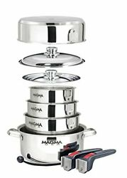 Magma Products 10 Piece Gourmet Nesting Stainless Steel Cookware Set Stainless