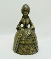 Circa 1900 English Cast Brass Figural French Marie Antoinette Lady W/ Fan Bell