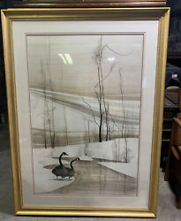 """P. Buckley Moss """"winter's Majesty"""" Print Signed, Matted, Framed. Geese Pond Snow"""