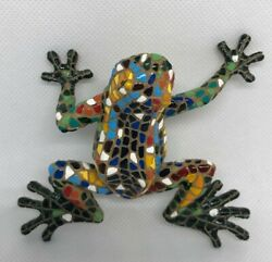 Large Barcino Of Spain Mosaic Frog Handcrafted And Hand Painted Figurine