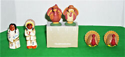 3 Sets Of Collectible Fall Thanksgiving Salt And Pepper Shakers Turkeys/indians