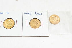 Liberty Gold Quarter Eagle Gold Coin Lot Of 3