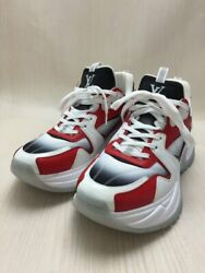 Louis Vuitton Low-cut Sneakers -- Red Leather Shoes Previously Owned No.9052