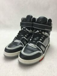 Louis Vuitton High Cut Sneakers Uk7.5 Blk Shoes Previously Owned No.9032