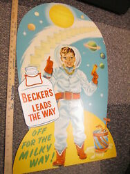 Beckers Dairy Milk Bottle 1950s Outer Space Gun Astronaut Kid Store Display Sign
