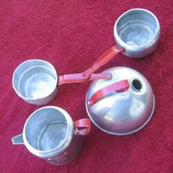 4 Vintage Miniature Toy Cooking Pots Teapot Cookware W Red Handle Puss N' Boots