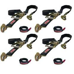 Bartact Ratchet Tie Down Straps Combo Pair Of 4 W/ 4 Free Bull Wraps