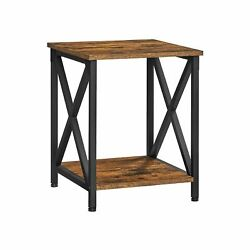 Farmhouse-style Rustic Brown And Black Side Table Nightstand