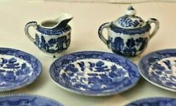Vintage 1950s 1960's Childs Tea Set Blue Willow Pattern 7 Pieces Made In Japan