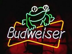 New Budweiser Frog 20x16 Light Lamp Neon Sign Real Glass Store Display Artwork