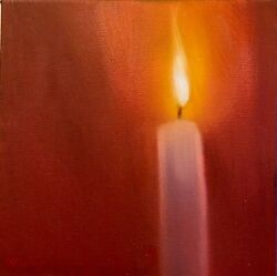 Original Oil Painting By Will Klemm Romantic Candle 10x10 Oil On Canvasandnbsp