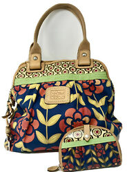 Fosil Vintage Canvas Floral Tote Purse With Wallet And Key Metal Chain