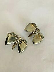 Vintage Pair Of Bow Earrings In A Silver Tone Finish Free Shipping