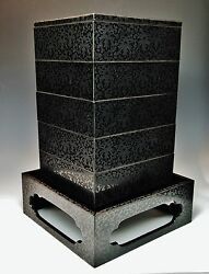 Magnificent Antique Engraved Lacquer Storage Boxes Jubako Stacking Meiji Japan