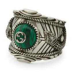 Nwt Authentic 925 St Silver Malachite G Garden Snake Ring Size 7.5 - Italy