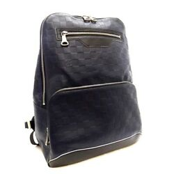 Louis Vuitton Damier Anfini Avenue Backpack Day Pack Mens Navy Black No.4862
