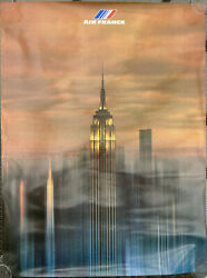 Affiche Air France/ New York / 1979 / Empire State Building / Twin Towers / Rare