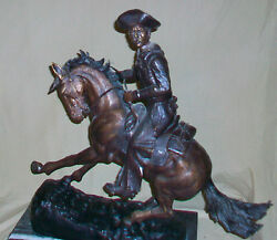Vintage 1980and039s Frederic Remington Bronze Statue The Cowboy