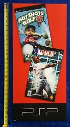 Hot Shots Gold / Mlb Sony Psp Video Game Store Display Promotional Sign 2005
