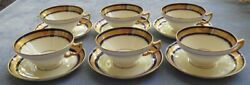 Six Minton H4081 Cup And Saucers Sets Cobalt Blue W/ Gold Encrusted Rim England
