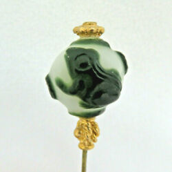 Chinese Overlay Carved Peking Glass Hat Pin Frogs And Lilypads