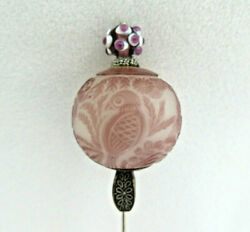 Chinese Overlay Carved Peking Glass Hat Pin Birds And Flowering Bonsai