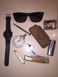 Vintage Junk Drawer Lot Knives, Maui Jim's 100 Percent Italy, And More