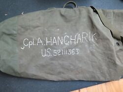 Vintage 1940s Us Army Military Issue Deployment Duffle Bag W/name