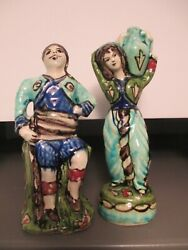 VINTAGE ITALY MAJOLICA POTTERY FIGURES MAN AND WOMAN